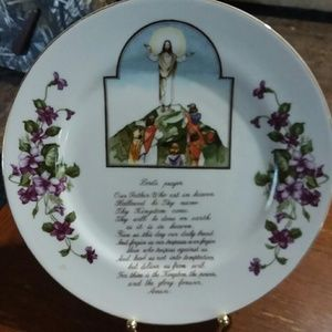 Lords prayer collectors plate w/gold trim